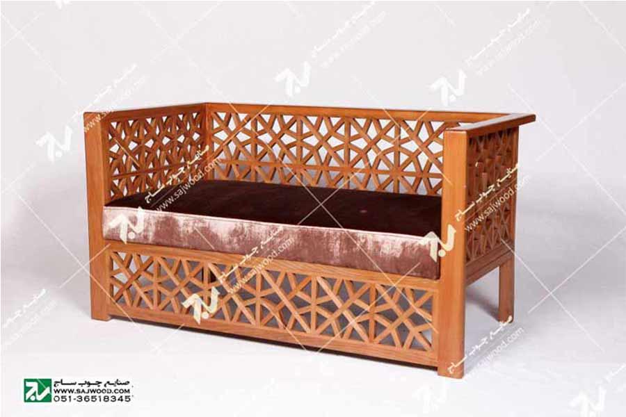 مبلمان چوبی سنتی دو نفره گره چینی  مشبک – سها کد ۲۵۲