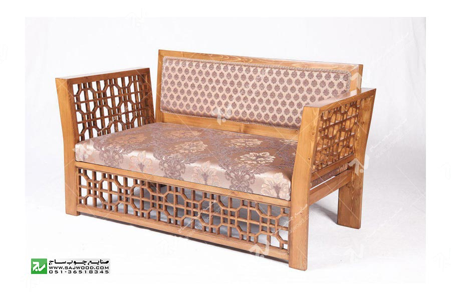 مبلمان چوبی سنتی دو نفره گره چینی  مشبک – سها کد ۲۵۵