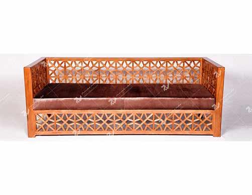 مبلمان چوبی سنتی سه نفره گره چینی  مشبک – سها کد ۲۵۳