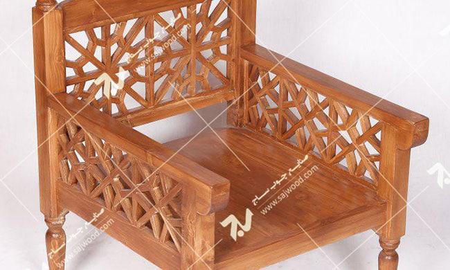 مبلمان چوبی سنتی یک نفره گره چینی مشبک - آسا کد ۲۰۱