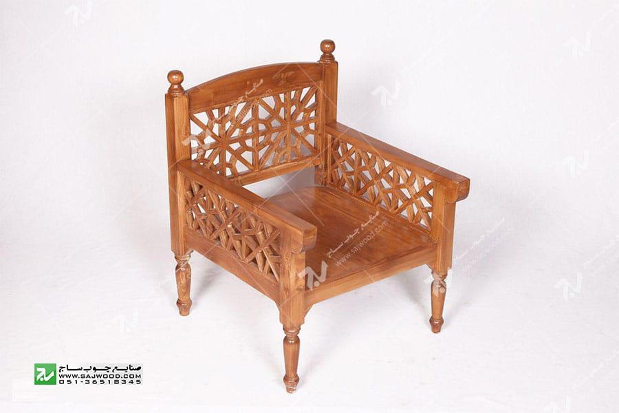 مبلمان چوبی سنتی تک نفره گره چینی مشبک - آسا کد ۲۰۱