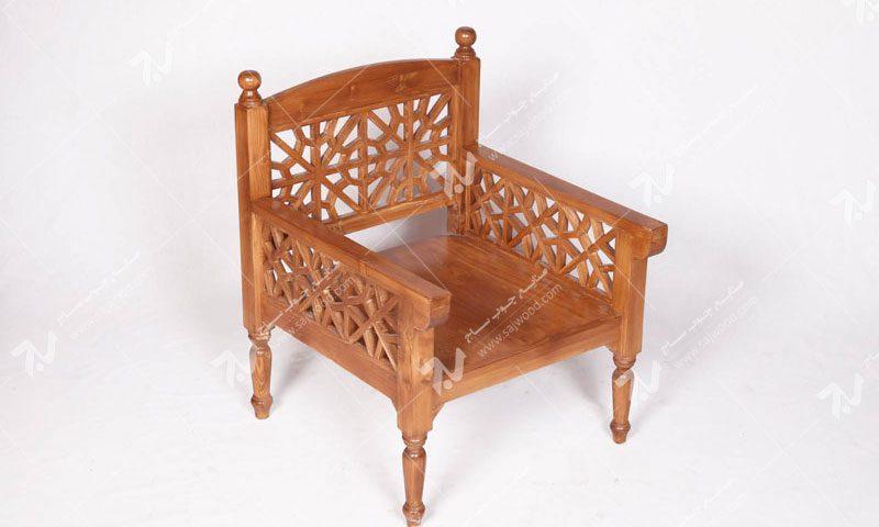 فروش خرید ساخت انواع مبلمان چوبی سنتی یک نفره گره چینی مشبک تمام چوب