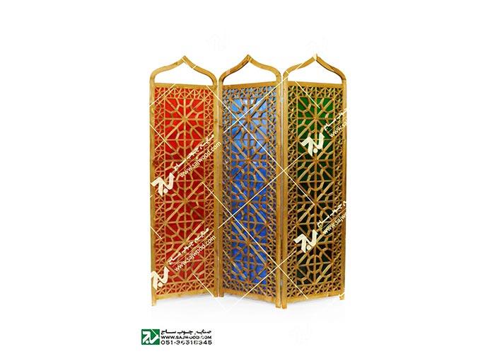 پارتیشن ، پاراوان چوبی سنتی مشبک گره چینی شیشه رنگی ارسی - افراز کد ۵۰۷