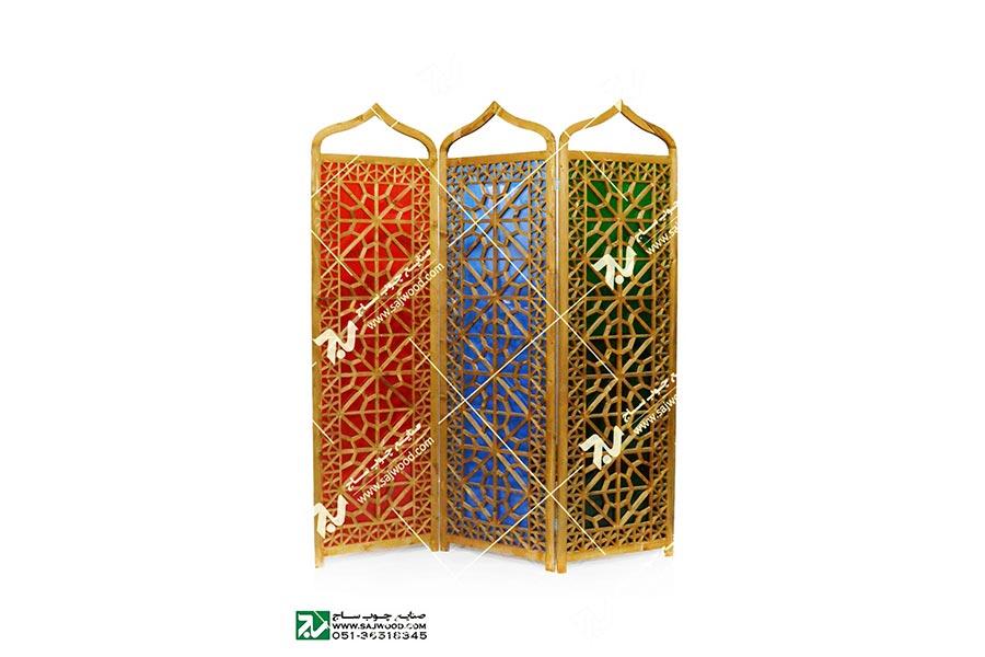 پارتیشن ( پاراوان ) چوبی سنتی مشبک گره چینی شیشه رنگی ( ارسی ) – افراز کد ۵۰۷