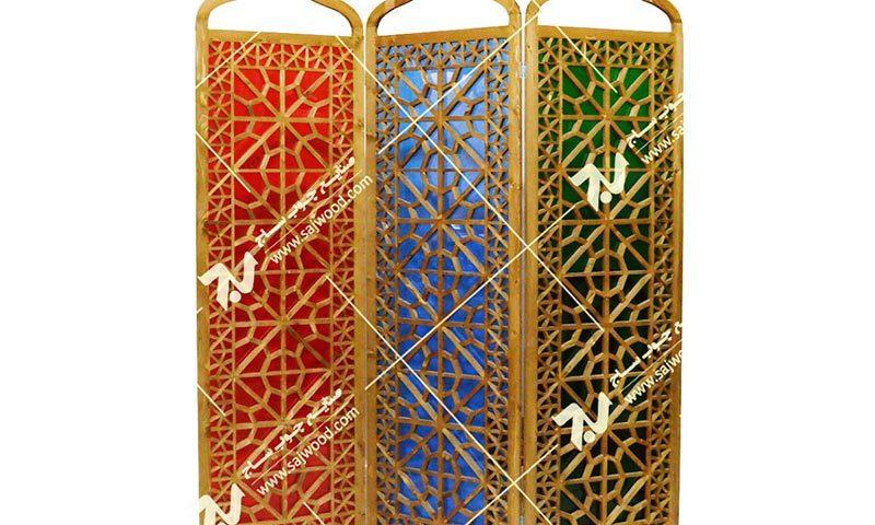 پارتیشن،پاراوان چوبی سنتی مشبک گره چینی شیشه رنگی ارسی فروش،قیمت،ساخت
