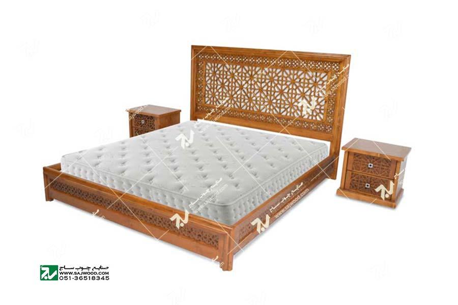 تخت خواب چوبی سنتی دو نفره گره چینی مشبک - رامش  کد ۴۰۱
