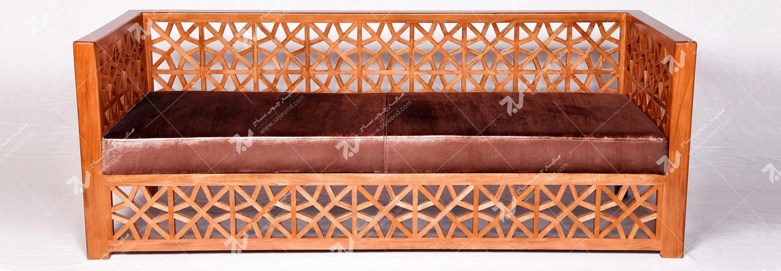 مبلمان چوبی سنتی هفت نفره گره چینی مشبک تمام چوب