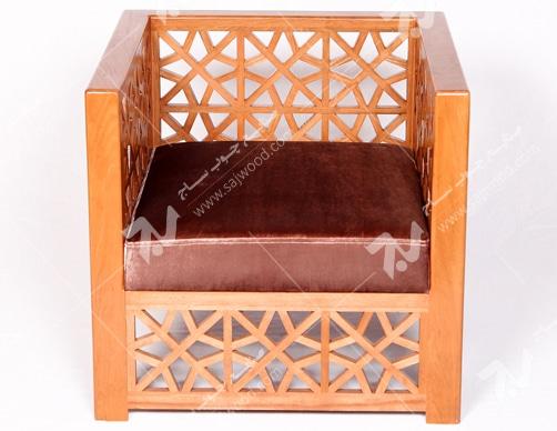 مبلمان چوبی سنتی تک نفره گره چینی مشبک - سها کد ۲۵۱