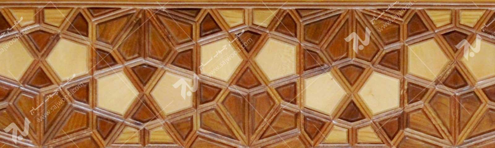 درب چوبی گره چینی سنتی  طرح کند دوپنج  کد C10