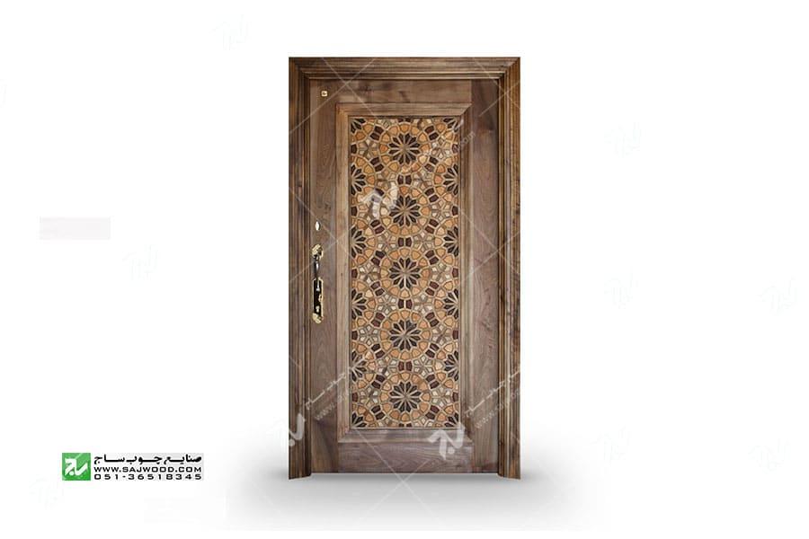 درب چوبی گره چینی طرح تند دوازده آپارتمانی - کد T12A