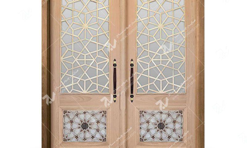 درب چوبی سنتی ورودی ساختمان،مسجد گره چینی توپر طرح کند دوپنج کد C10