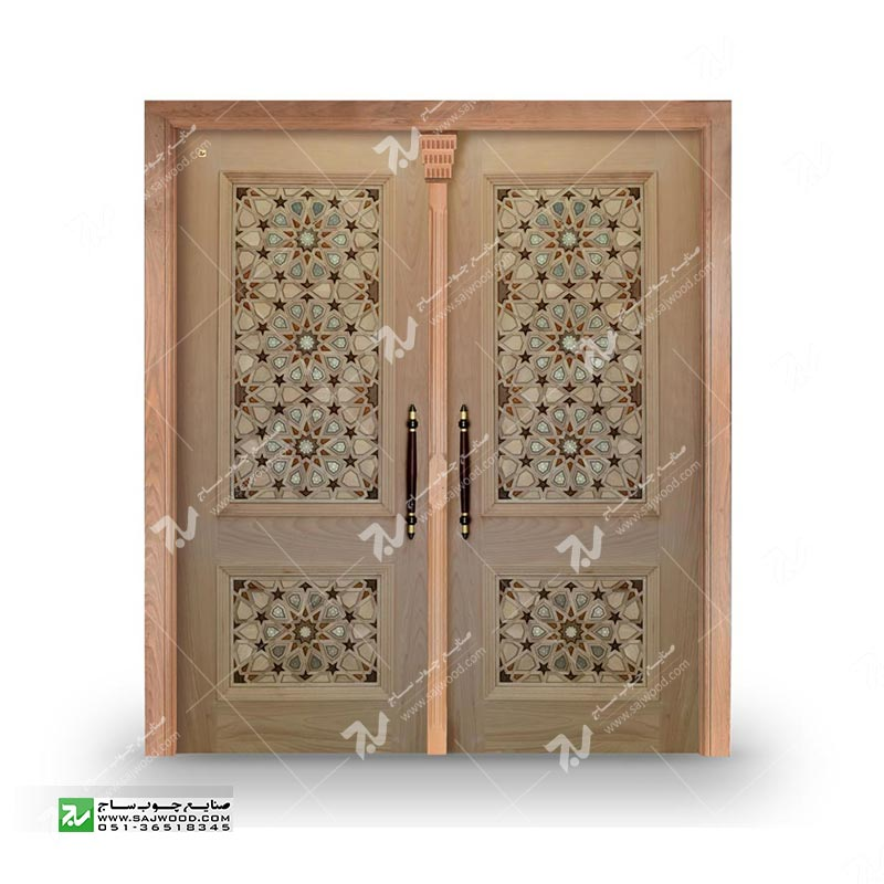 درب چوبی سنتی ورودی ساختمان مسجد گره چینی طرح گره وخاتم تندده کدT10KH