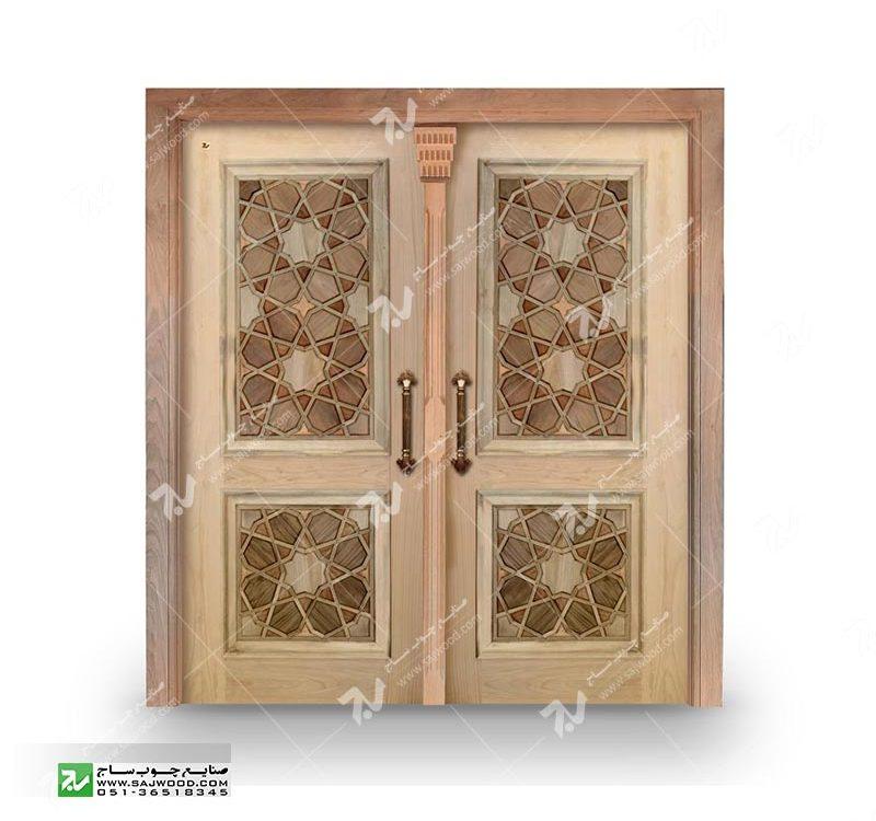 درب چوبی گره چینی سنتی درب تمام چوب ورودی ساختمان قیمت ساخت وخرید درب