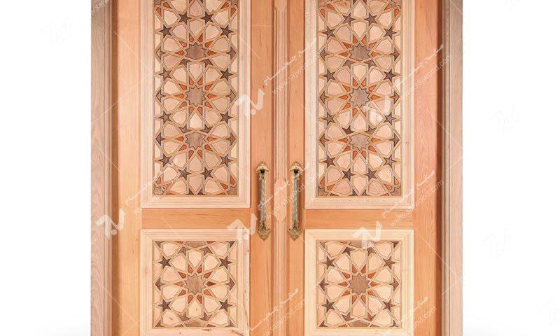 درب چوبی سنتی ورودی ساختمان،مسجد گره چینی طرح تند ده ته بریده کد TT10