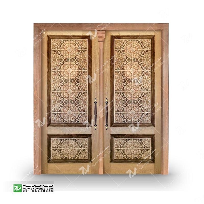 درب چوبی ورودی آپارتمان ساختمان گره چینی توپرسنتی طرح تنددوازده کد T12