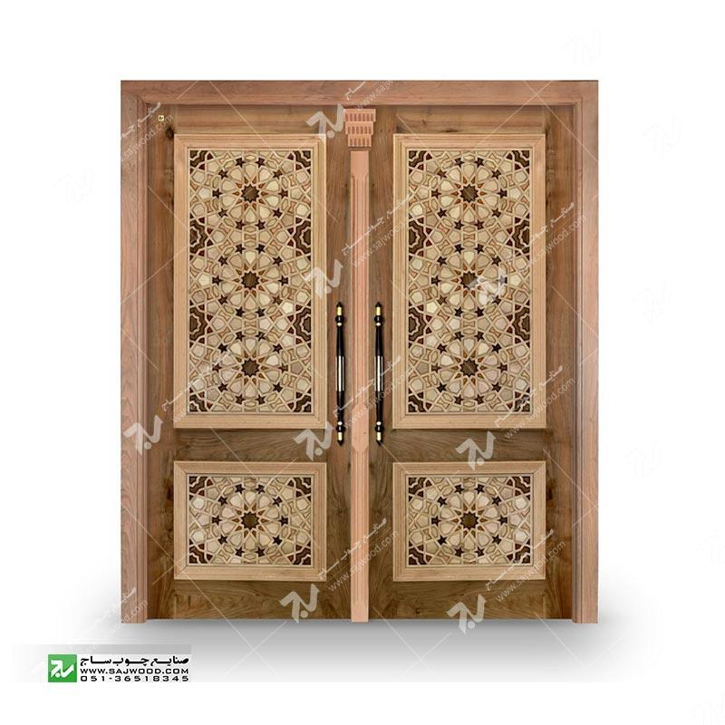درب چوبی ورودی ساختمان مسجدگره چینی سنتی طرح تند و کند گیوه کد TCG10