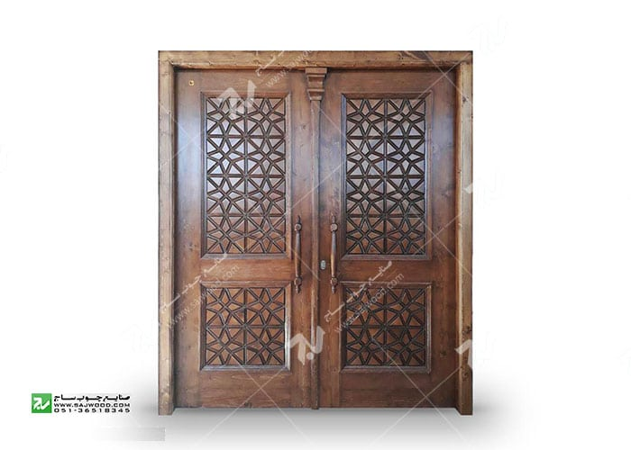 درب چوبی گره چینی سنتی توپر - طرح مربع ترنج کد M4