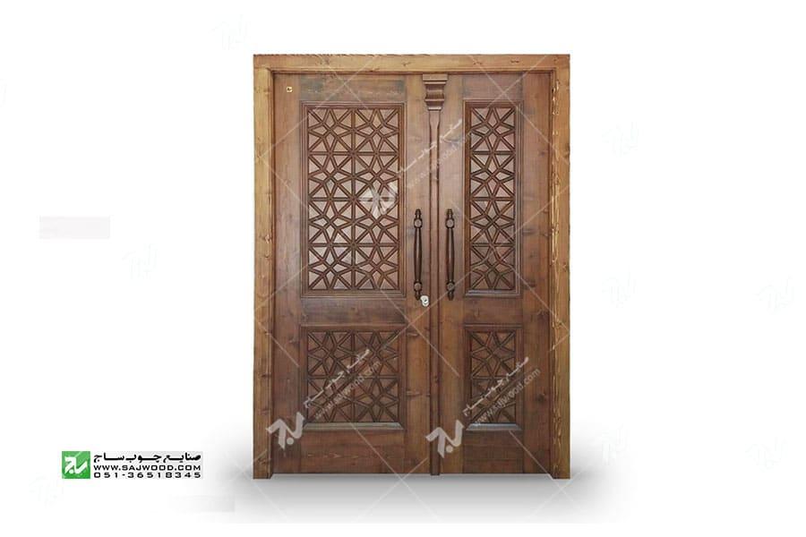 درب چوبی گره چینی سنتی توپر - طرح مربع ترنج کد M4 -3