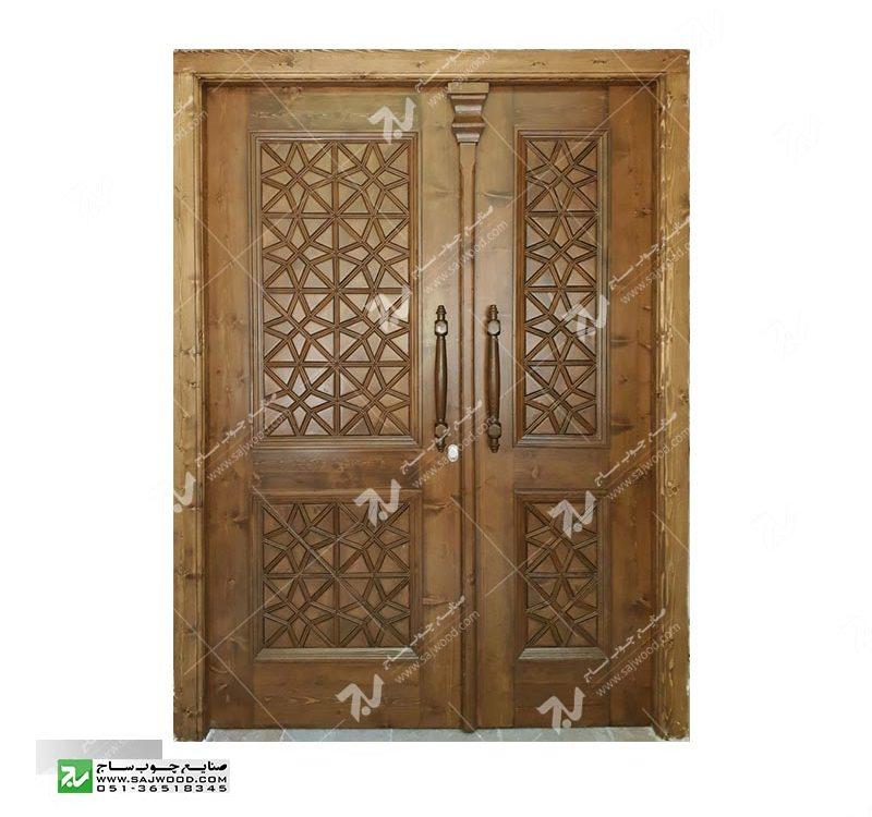 درب چوبی سنتی گره چینی ورودی ساختمان،مسجد توپر طرح مربع ترنج کد M4