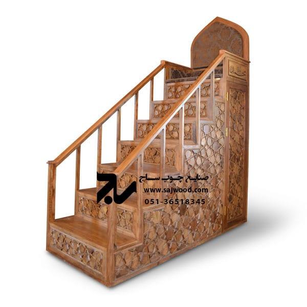 منبر چوبی مسجد گره چینی ۷ پله خرید و فروش منبر تمام چوب مداحی و روضه