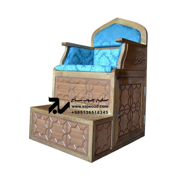 منبر چوبی مسجد گره چینی ۲ پله خرید و قیمت منبر روضه،مداحی سنتی ایرانی