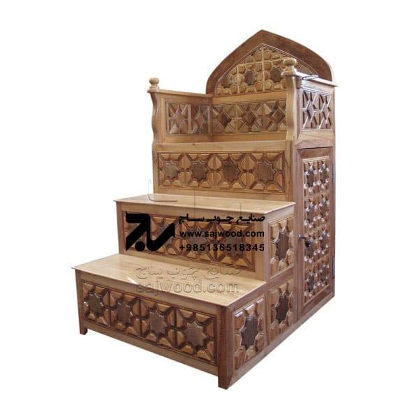 منبر چوبی مسجد گره چینی ۳ پله ساخت و خرید منبر تمام چوب سنتی ایرانی