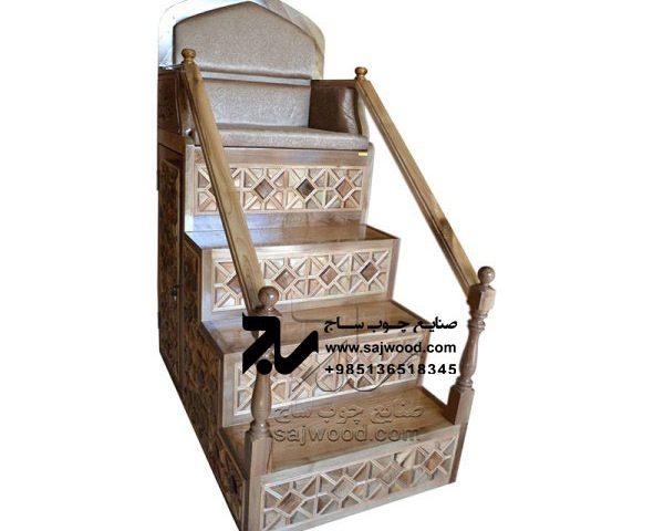 منبر چوبی مسجد گره چینی ۴ پله قیمت و خرید منبر روضه،مداحی سنتی مشبک