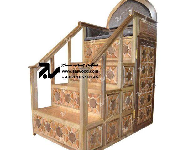 منبر چوبی گره چینی مسجد ۴پله- شمس کد ۱۰۴