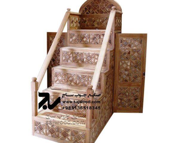 منبر چوبی مسجد گره چینی 5پله خرید،قیمت منبر تمام چوب مداحی،روضه،حسینیه