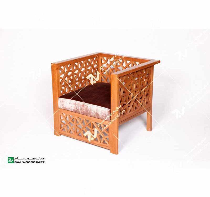 مبلمان چوبی سنتی یک نفره گره چینی مشبک تمام چوب