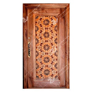 درب چوبی قدیمی گره چینی طرح تند دوازده ورودی ساختمان،آپارتمان کد T12A