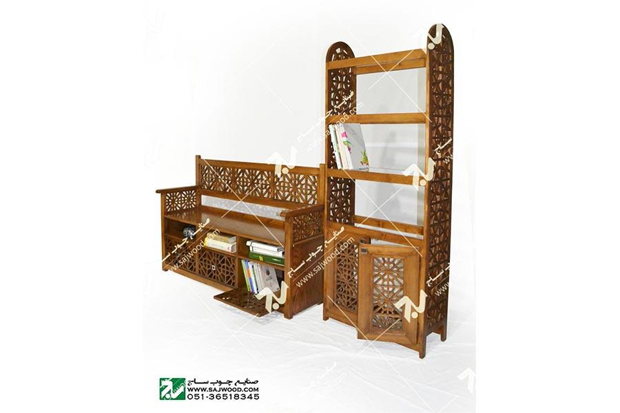 کتابخانه ( ویترین ) و گنجه چوبی سنتی گره چینی - آذین کد ۶۲۸