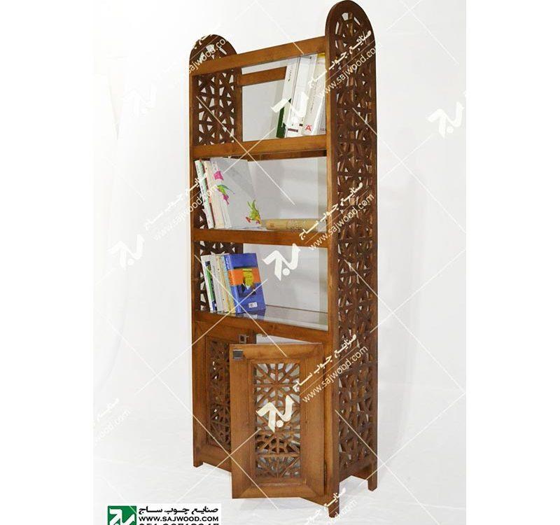 کتابخانه ویترین گنجه چوبی سنتی گره چینی مشبک خرید،قیمت،فروش انواع گنجه