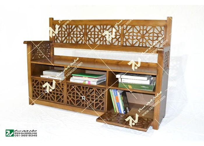 کتابخانه ، نیمکت و گنجه چوبی سنتی مشبک گره چینی - آذین کد ۶۲۷