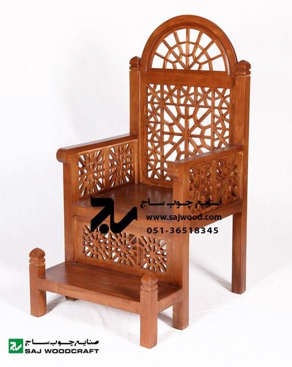 منبر چوبی مسجد گره چینی دو پله هشت گل - کد ۱۰۹