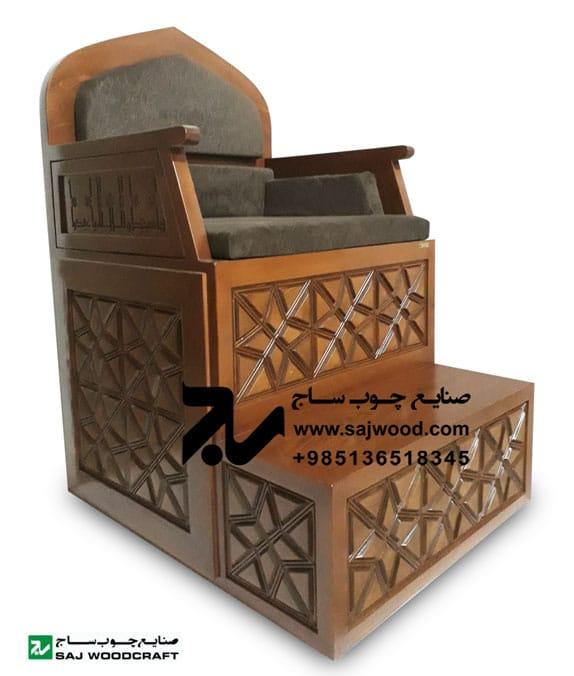 منبر چوبی مسجد گره چینی دو پله مربع ترنج - کد ۱۱۰