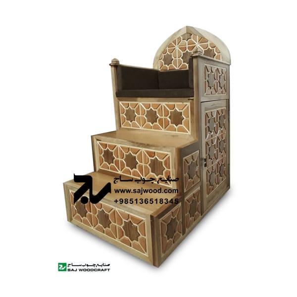 منبر چوبی گره چینی سه پله شمس - کد 111-4