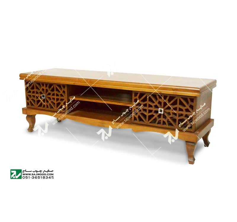 میز ال سی دی و تلویزیون LCD / LED چوبی سنتی مشبک گره چینی _ سمن کد۳۲۱