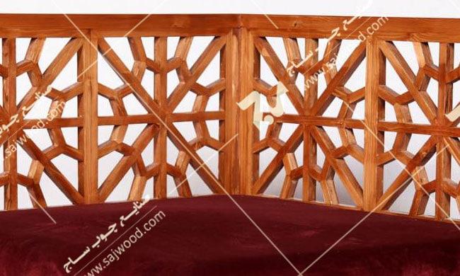 مبلمان چوبی سنتی - مبل گفتگو یک نفره گره چینی مشبک - سها کد ۲۵۰