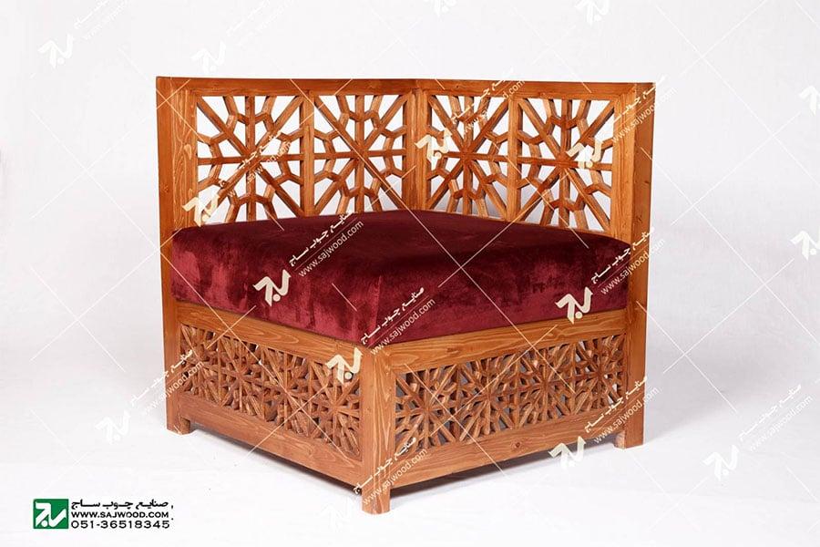 مبلمان چوبی سنتی - مبل گفتگو یک نفره گره چینی مشبک - سها کد 250