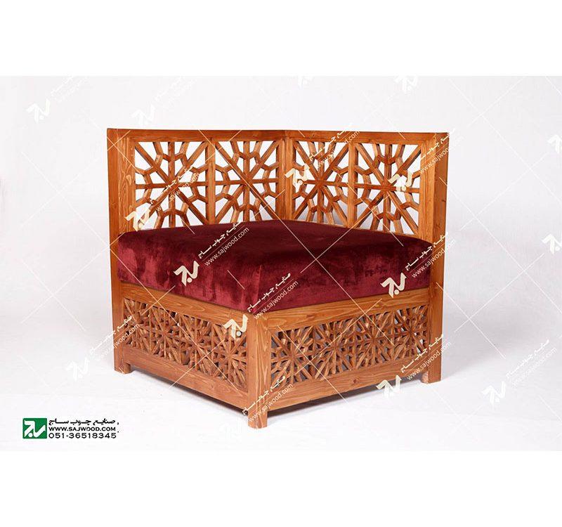 مبلمان چوبی سنتی مبل گفتگو یک نفره گره چینی مشبک ساخت مبل چوبی دست ساز