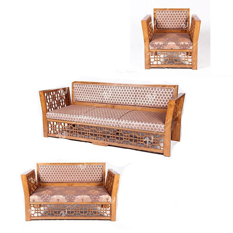 مبلمان چوبی سنتی 7 نفره گره چینی مشبک تمام چوب