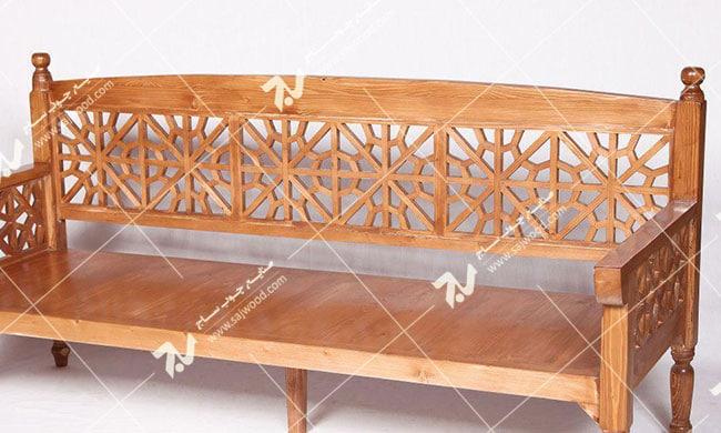 مبلمان چوبی سنتی سه نفره گره چینی مشبک – آسا کد ۲۰۳