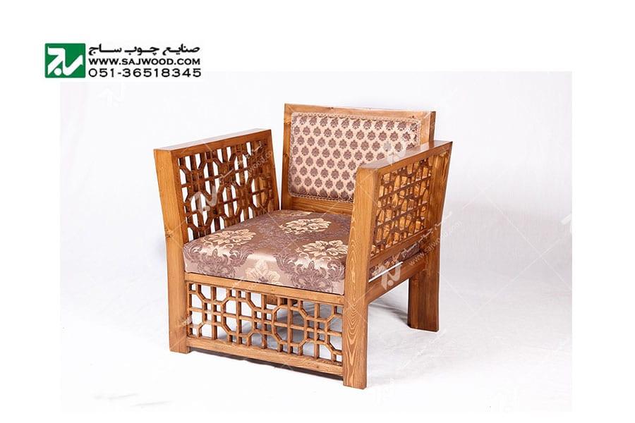 مبلمان چوبی سنتی ست هفت نفره گره چینی  مشبک – سها کد 258
