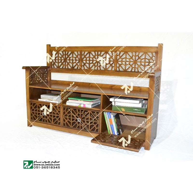 کتابخانه نیمکت و گنجه چوبی سنتی مشبک گره چینی فروش و ساخت انواع گنجه