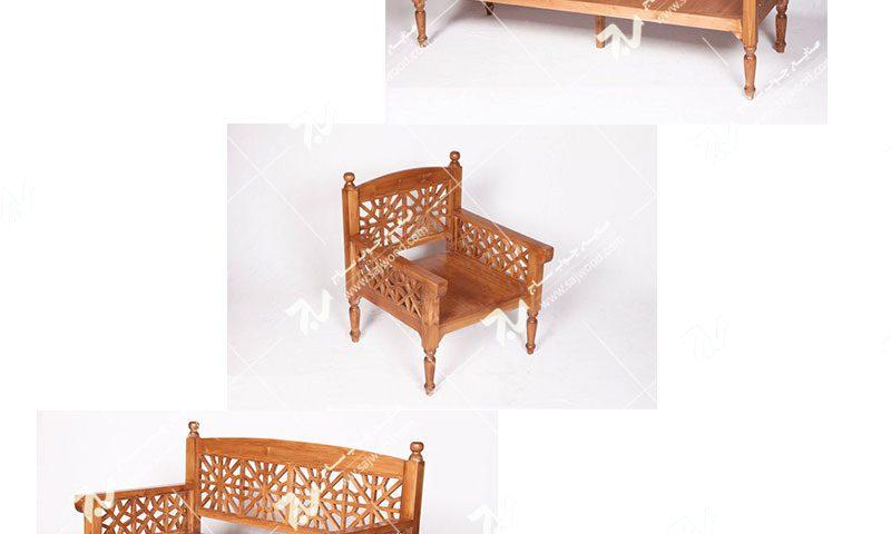 فروش خرید ساخت انواع مبلمان چوبی سنتی هفت نفره گره چینی مشبک تمام چوب