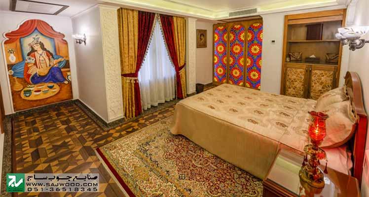 ساخت و نصب پنجره ارسی باهنر گره چینی و ترکیب شیشه های رنگی طرح تند  دوازده در هتل بین المللی قصر طلایی مشهد