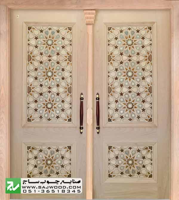 تعریف انواع هنر گره چینی چوب درب چوبی گره چینی با هنر خاتم کاری اصیل ایرانی