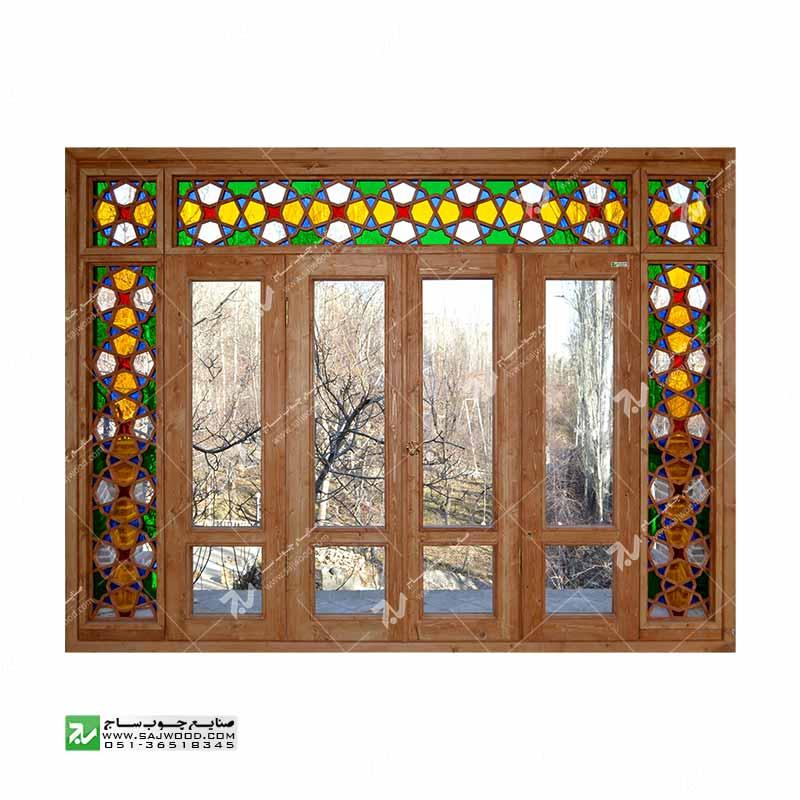 پنجره سنتی چوبی ارسی شیشه رنگی گره چینی مشبک طرح هشت چهار لنگه کد W202