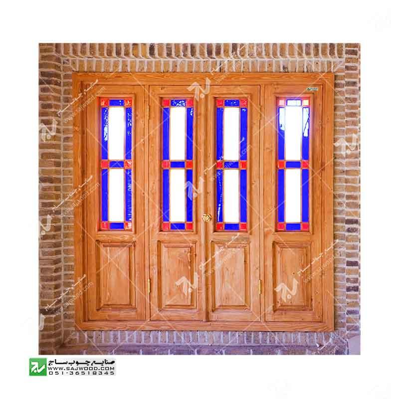 پنجره شیشه رنگی ارسی چوبی سنتی گره چینی مشبک طرح مربع کد W203